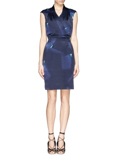ARMANI COLLEZIONI Wrap front abstract print satin dress