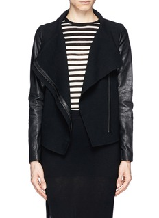 VINCE Leather sleeve wool biker jacket