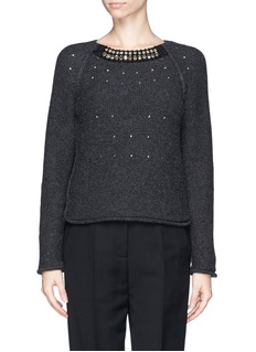 LANVIN Perforated strass neck wool sweater