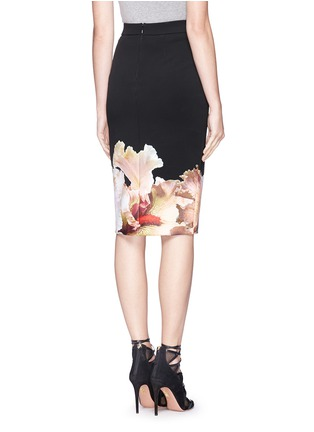 Back View - Click To Enlarge - Givenchy - 'Jupe' orchid print stretch jersey pencil skirt
