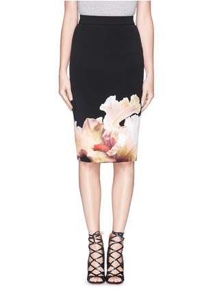 Main View - Click To Enlarge - Givenchy - 'Jupe' orchid print stretch jersey pencil skirt