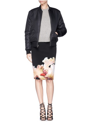 Figure View - Click To Enlarge - Givenchy - 'Jupe' orchid print stretch jersey pencil skirt