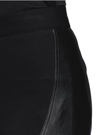 Detail View - Click To Enlarge - Givenchy - Leather panel Milano knit skinny pants