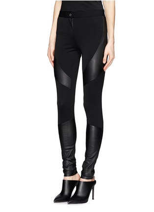 Front View - Click To Enlarge - Givenchy - Leather panel Milano knit skinny pants