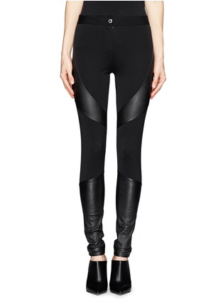Main View - Click To Enlarge - Givenchy - Leather panel Milano knit skinny pants