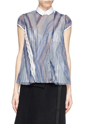 Sacai-Plissé pleat dot chiffon front blouse
