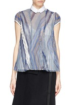 SACAI Plissé pleat dot chiffon front blouse