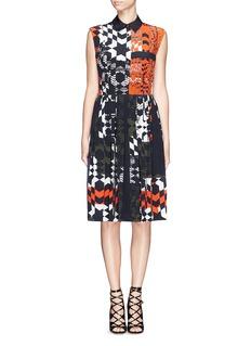 PREEN BY THORNTON BREGAZZI'Luna' geometric check pleat silk dress