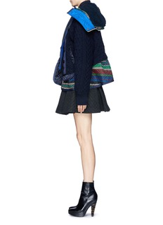 SACAIDouble layer wool cardigan and quilted peplum jacket