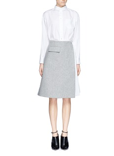 SACAIFelt and chiffon pleat skirt shirt dress