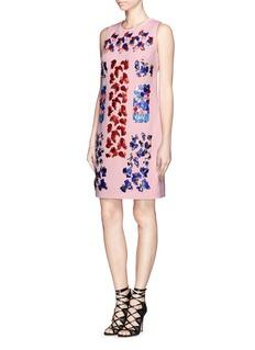 PETER PILOTTO'Lex' bead and petal appliqué shift dress
