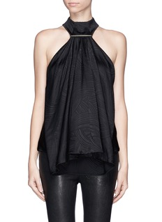 JASON WU Waterfall ruffle front high neck silk blouse