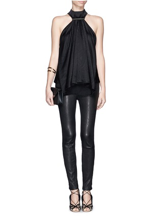 Figure View - Click To Enlarge - JASON WU - Waterfall ruffle front high neck silk blouse