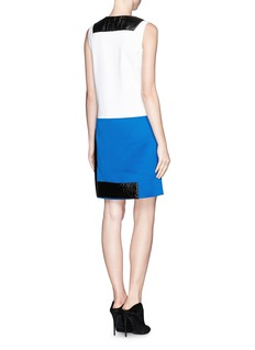 VICTORIA, VICTORIA BECKHAM Crackled patent leather and pony hair colourblock dress