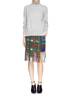 SACAI Check pleat chiffon wrap quilted skirt