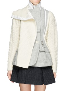 SACAICable knit panel zip blazer combo jacket