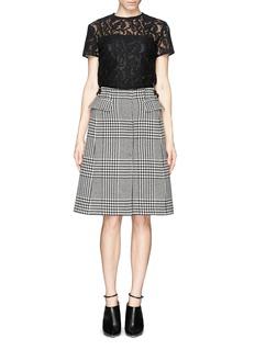 SACAIWool felt houndstooth skirt floral lace dress