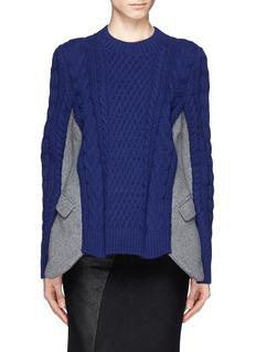 SACAIFelt blazer panel cable knit sweater