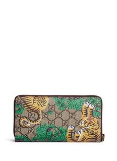 Gucci Bengal tiger print GG Supreme canvas continental wallet