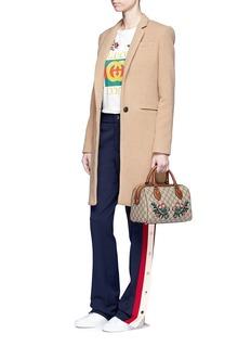 Gucci 'Linea A' small floral embroidered GG Supreme Boston bag