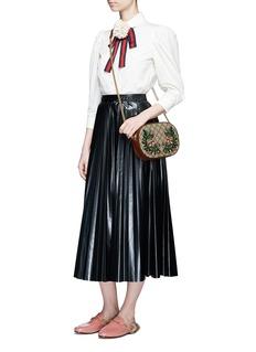 Gucci'Linea A' small floral embroidered GG Supreme crossbody bag