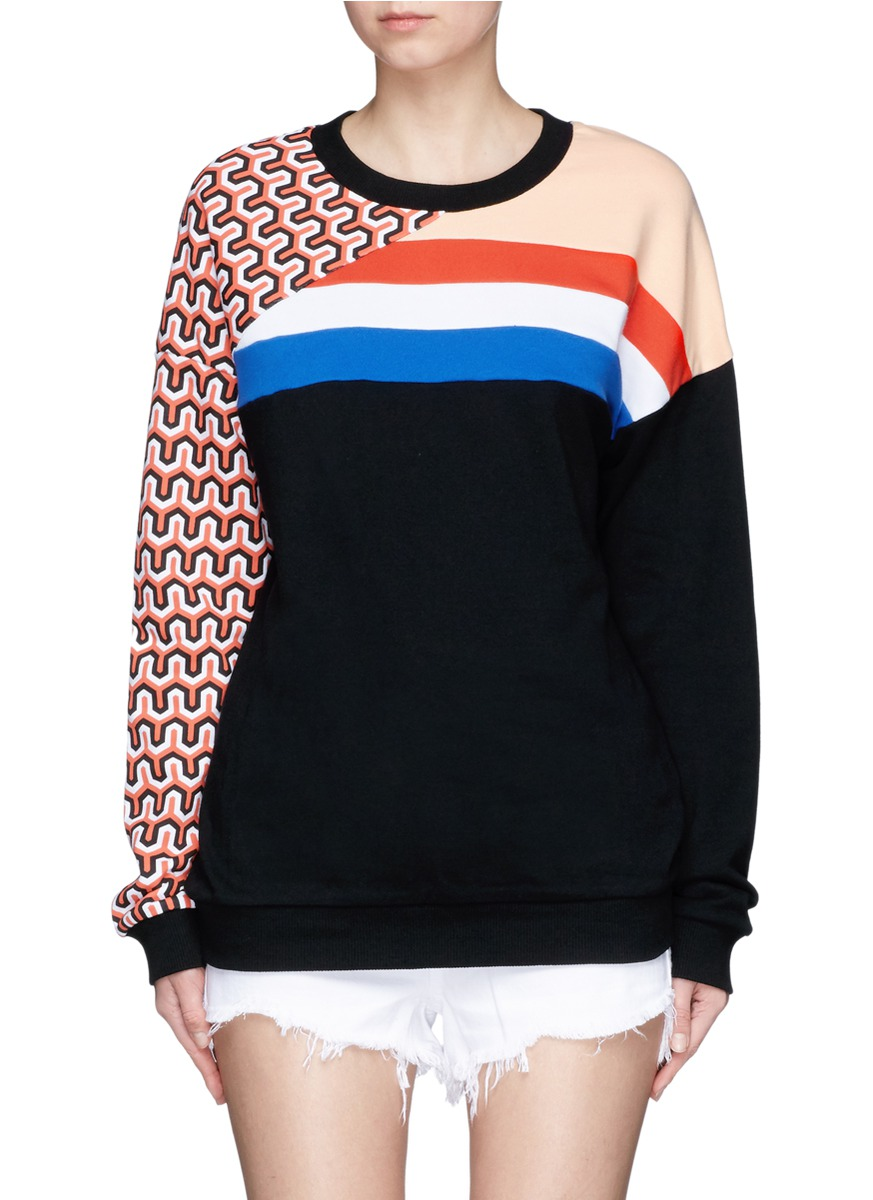 Half Pipe mixed stripe print French terry sweatshirt by P.E Nation