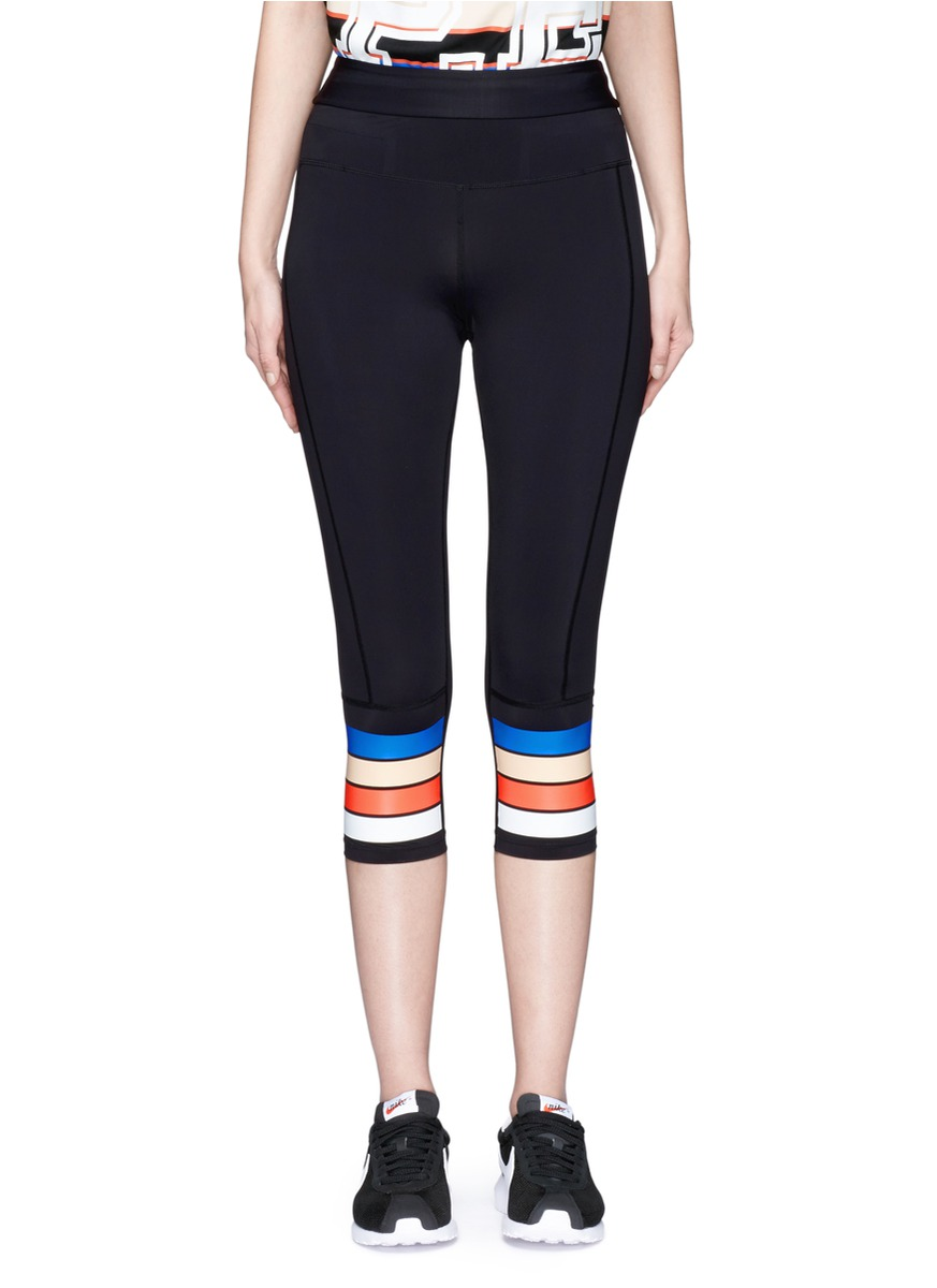 The Scoop stripe print performance 3/4 leggings by P.E Nation