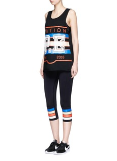 P.E Nation 'The Scoop' stripe print performance 3/4 leggings