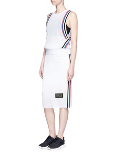P.E Nation 'Off Racing' stripe cotton mesh skirt