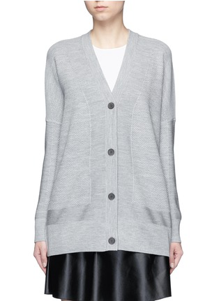 Main View - Click To Enlarge - Vince - Wool-silk waffle knit boyfriend cardigan