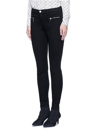 Front View - Click To Enlarge - J Brand - 'Miranda' mid rise zip sateen skinny pants
