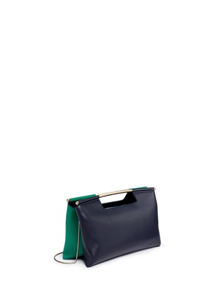 Front View - Click To Enlarge - DELPOZO - 'Gret' colourblock leather satchel clutch