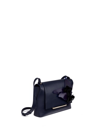Front View - Click To Enlarge - DELPOZO - 'Bo' floral appliqué leather shoulder bag