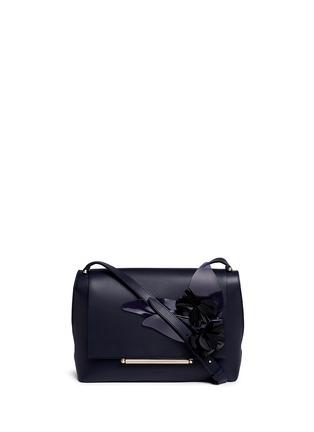 Main View - Click To Enlarge - DELPOZO - 'Bo' floral appliqué leather shoulder bag
