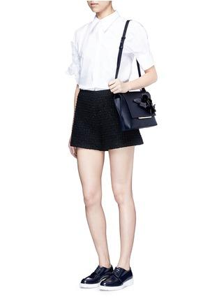 Figure View - Click To Enlarge - DELPOZO - 'Bo' floral appliqué leather shoulder bag