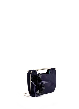 Front View - Click To Enlarge - DELPOZO - 'Mini Gret' woodgrain effect floral appliqué clutch