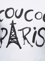 'Coucou Paris' slogan print jersey T-shirt