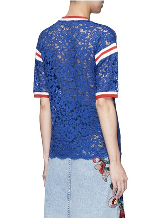 Back View - Click To Enlarge - Gucci - Stripe trim butterfly embroidery lace T-shirt