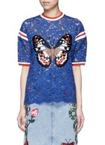 Stripe trim butterfly embroidery lace T-shirt