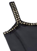 'Chacha' metallic crochet trim one-shoulder swimsuit