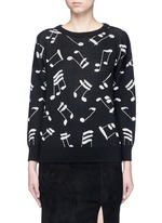 Musical note intarsia mohair blend sweater