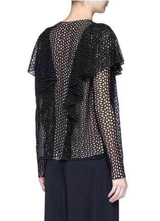 Back View - Click To Enlarge - Lanvin - Eyelet broderie anglaise ruffle top