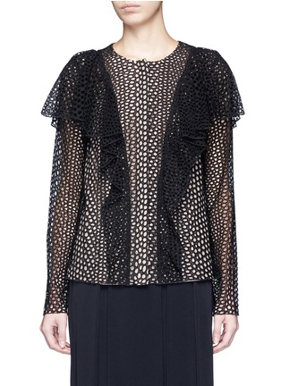 Main View - Click To Enlarge - Lanvin - Eyelet broderie anglaise ruffle top
