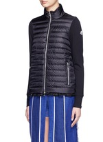 Ruffle hem jersey combo down zip jacket