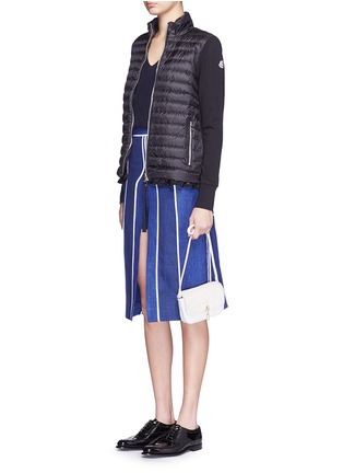 Moncler-Ruffle hem jersey combo down zip jacket