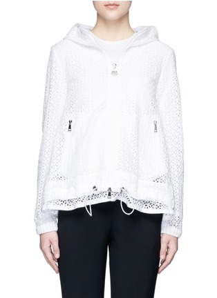 Main View - Click To Enlarge - Moncler - 'Rombou' sangallo lace A-line hood jacket