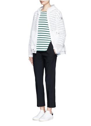 Figure View - Click To Enlarge - Moncler - 'Rombou' sangallo lace A-line hood jacket