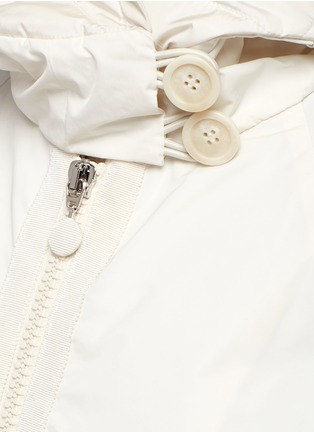 Detail View - Click To Enlarge - Moncler - 'Hibiscus' quilted bell sleeve hooded down jacket