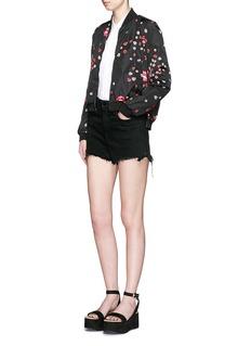 GIAMBALadybug lip print side zip bomber jacket