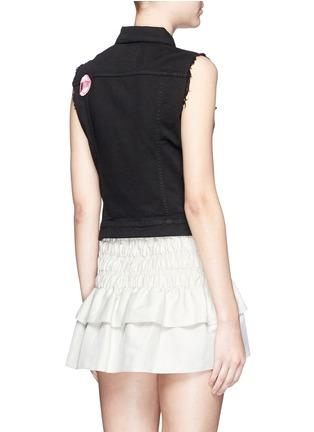Back View - Click To Enlarge - Giamba - Mix lip appliqué sleeveless denim vest